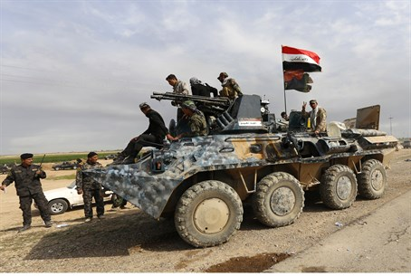 Iraqi army and Shia militia forces in Al-Alam, north of Tikrit