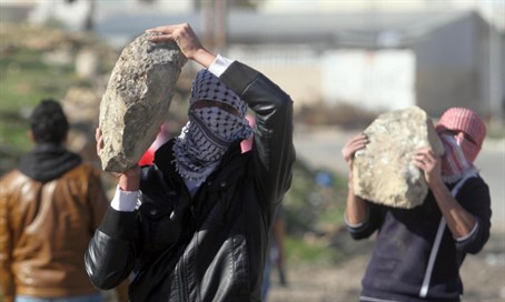 Palestinian Arabs threaten IDF with stones, January 2014