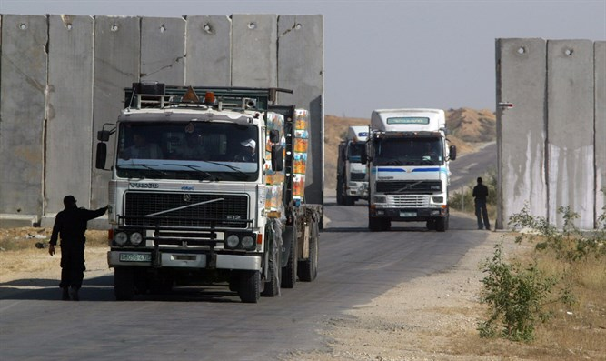 Humanitarian aid trucks passing into Gaza