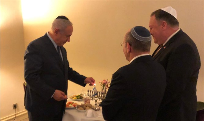 Netanyahu and Pompeo light Hanukkah candles
