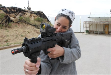 Woman trains with Tavor