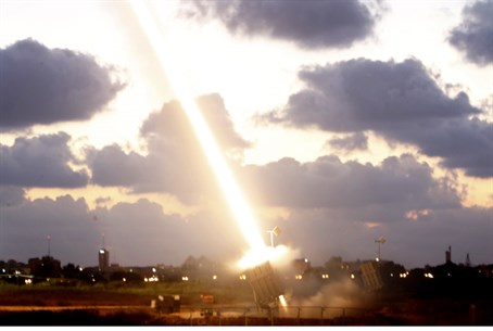 The Iron Dome intercepts a Hamas-fired missil