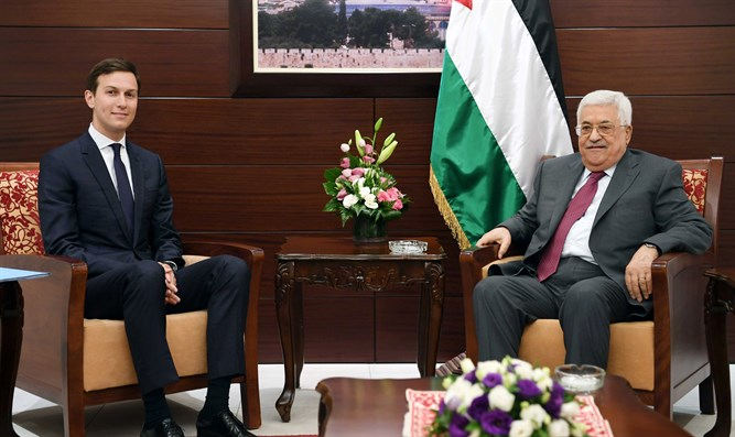 Kushner (L) and Abbas smiling for cameras