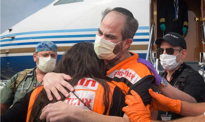 United Hatzalah chief Eli Beer arrives at Ben Gurion Airport on April 21, 2020