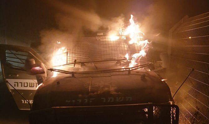 Border Police vehicle hit by firebomb